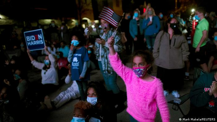 6-year-old Mia Duran at an election watch party in Wilmington, Delware (Mark Makela/REUTERS)