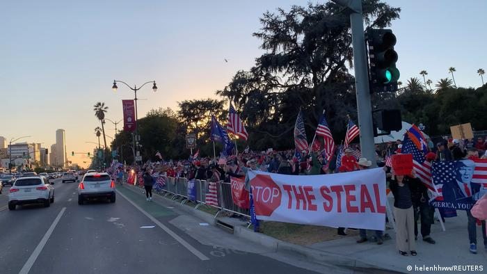 Trump supporters gather at a Stop The Steal protest in Beverly Hills, California (helenhhww/REUTERS)