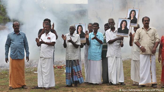 Locals from the village of Painganadu in Tamil Nadu state celebrate Kamala Harris' election (Aijaz Rahi/picture alliance/AP Photo)