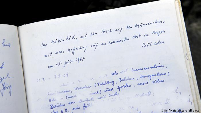 Запис Пауля Целана у книзі гостей у будинку Мартіна Гайдеґґера