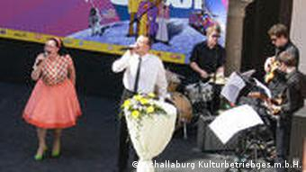 A band perdorms music from the 1960s at the ceremony honoring the 50th anniversary of the birth control pill