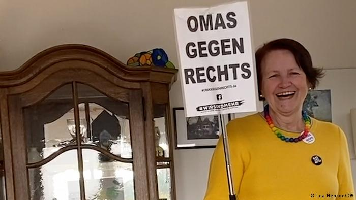 Ohnweiler holding a sign reading, in German, Grannies against the Right