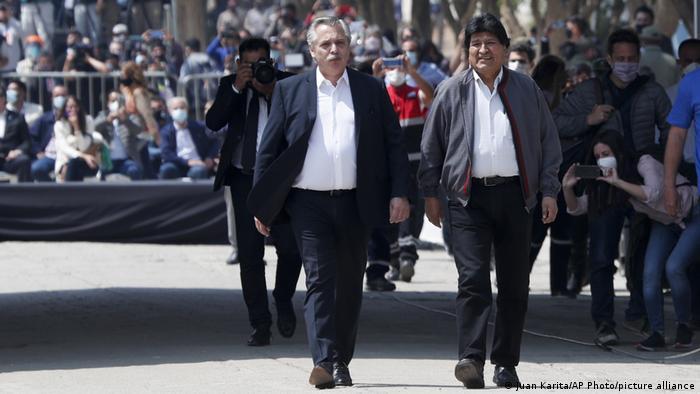 Foto de Alberto Fernández y Evo Morales