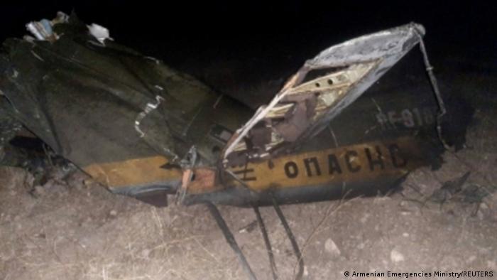 Обломок сбитого над Арменией российского вертолета Ми-24