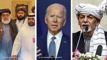 Bildkombo Afghanistan l Taliban, Joe Biden und Ghani