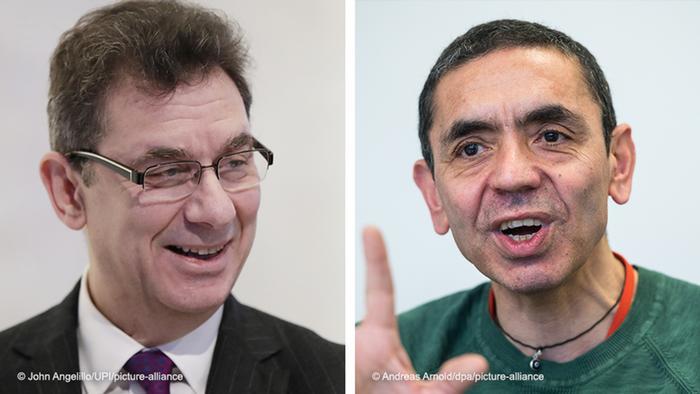 Bildkombo l Corona Impfstoff l CEO von Pfizer, Albert Bourla und CEO von BioNTech, Ugur Sahin