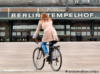 Bicycle on grounds of old Tempelhof airport