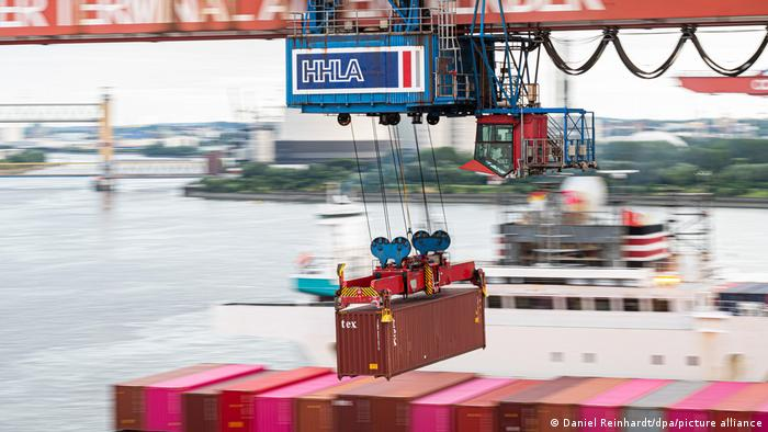 A container crane at the port of Hamburg