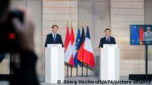 ABD0116_20201110 - PARIS - FRANKREICH: vlnr.: Bundeskanzler Sebastian Kurz (ÖVP) und Frankreichs Präsident Emmanuel Macron am Dienstag, 10. November 2020, während einer PK im Elysee-Palast in Paris nach einer Videokonferenz mit der deutschen Bundeskanzlerin Angela Merkel, der Präsidentin der Europäischen Kommission Ursula von der Leyen und EU-Ratspräsident Charles Michel - FOTO: APA/GEORG HOCHMUTH - 20201110_PD5345 |