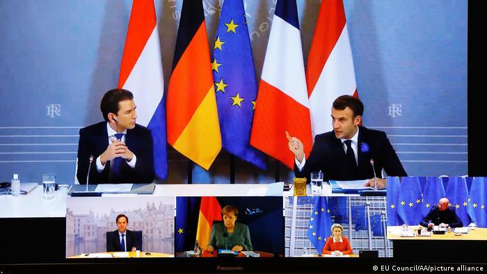 Reunión del presidente francés, Emmanuel Macron, con el canciller austríaco, Sebastian Kurz, sobre medidas antiterroristas. (10.11.2020).