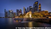 Singapur Merlion Park & Business district