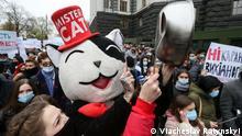 Ukraine Coronavirus Protest der Gastronomen gegen Teillockdown