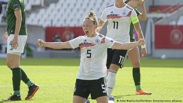 Marina Hegering celebrates scoring a goal for Germany against Ireland this year