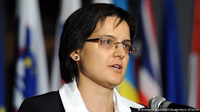 Mária Kolíková, Justizministerin des EU-Mitgliedslandes Slowakei, am 23. August 2020 während ihrer Rede anlässlich des Tages der Erinnerung an die Opfer von Stalinismus und Nationalsozialismus in der polnischen Hauptstadt Warschau
