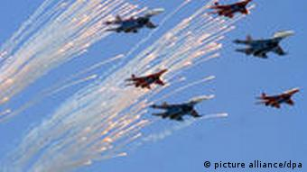 Russian military jets fly in formation over Red Square on Sunday