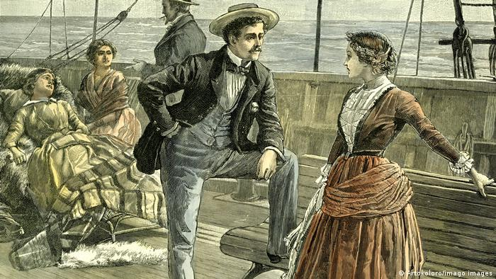 An 1887 illustration of men and women talking on a ship