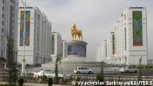 A view shows a statue of a Turkmen shepherd dog, locally known as Alabai, in Ashgabat, Turkmenistan November 10, 2020. Picture taken November 10, 2020. REUTERS/Vyacheslav Sarkisyan