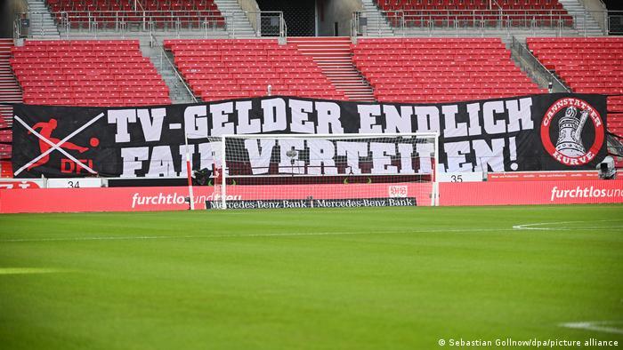 Stuttgart fans' banner demanding fairer distribution of Bundesliga television revenue