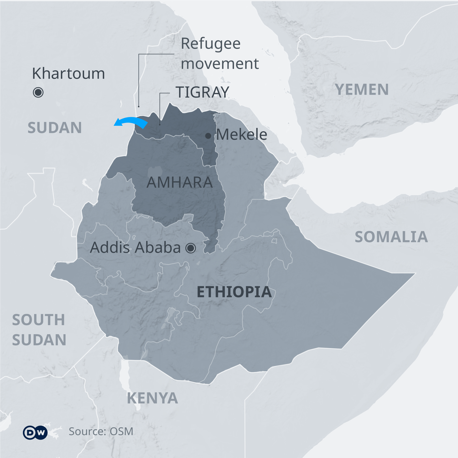 An infographic showing Tigray's location in the north of Ethiopia