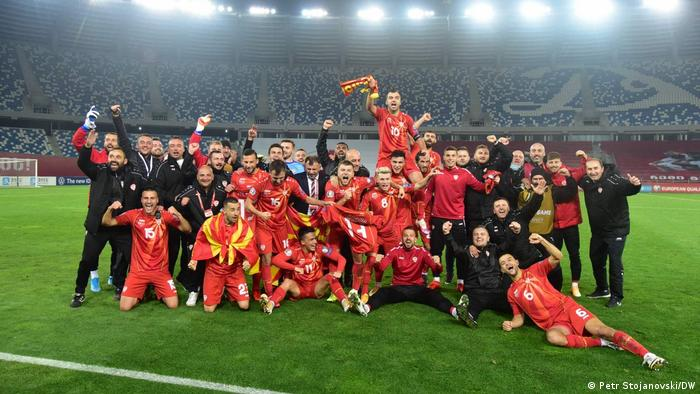 North Macedonian soccer team celebrates victory over Georgia and qualification for the European Football Championship.