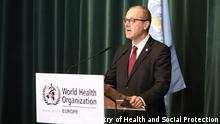 AL_WHO supports Albania in responding to emergencies caused by the pandemic covid-19. Description: Dr. Hans Kluge, WHO Director for Europe. Author: Press office, Ministry of Health and Social Protection,