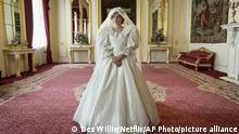 This image released by Netflix shows Emma Corrin in a scene from The Crown. Season four premieres on Sunday, Nov. 15. (Des Willie/Netflix via AP) |