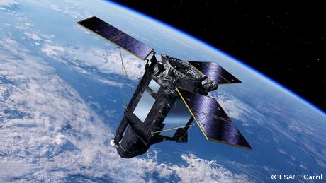 Artist impression of the SeoSat-Ingenio satellite in space, a Spanish Earth Observation mission