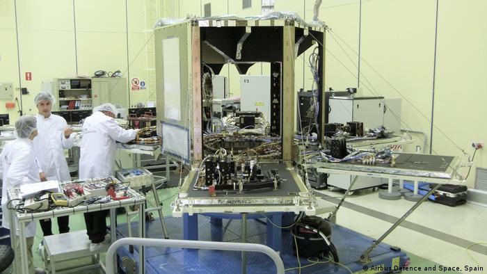 The SEOSAT-Ingenio spacecraft in a so-called cleanroom at Airbus in Spain