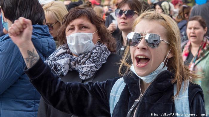 Акция протеста в Хабаровске после ареста бывшего губернатора Хабаровская края Сергея Фургала