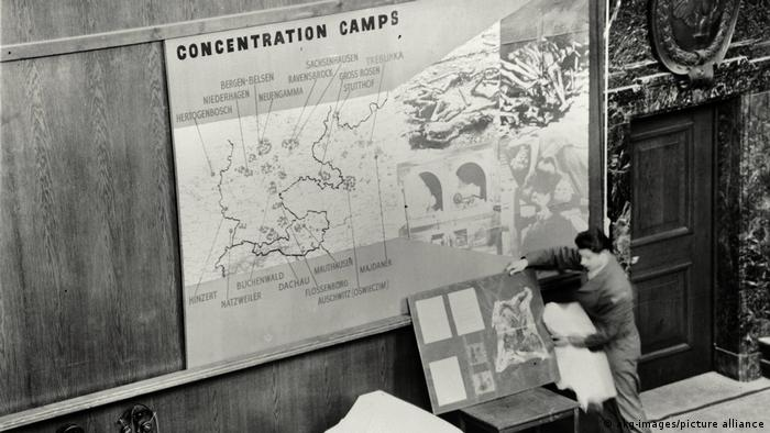A picture of a map on which is listed the location of concentration camps, as well as other information that was presented in the trial
