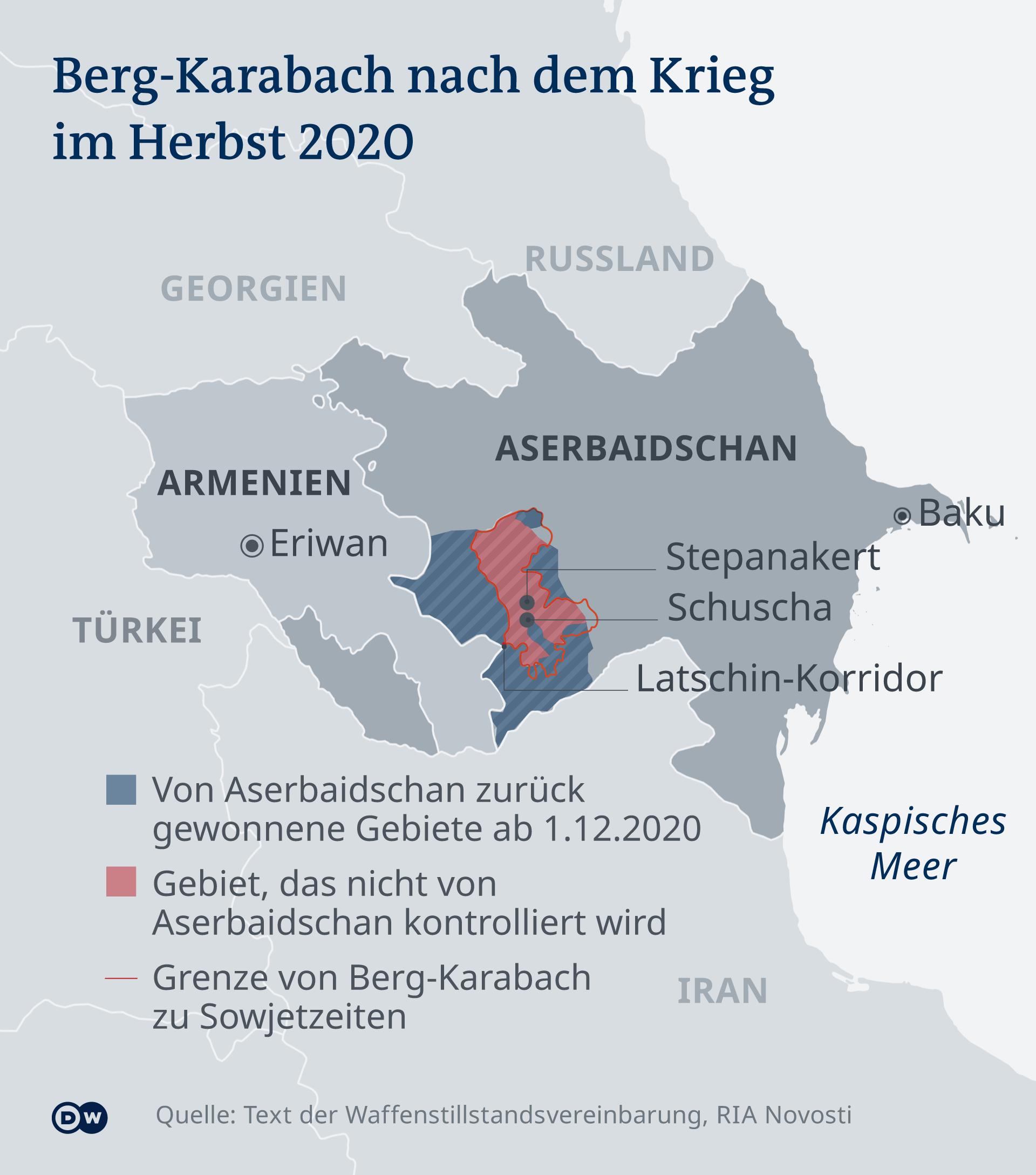 Infografik Karte Berg-Karabach nach dem Krieg im Herbst 2020 DE