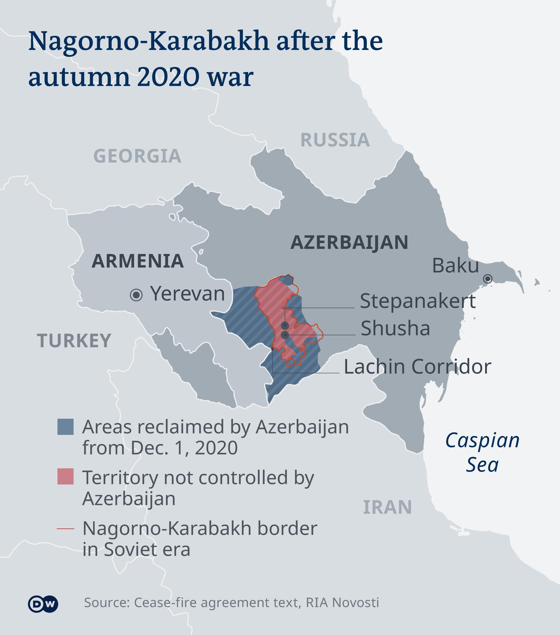 Map of Nagorno-Karabakh after the 2020 war