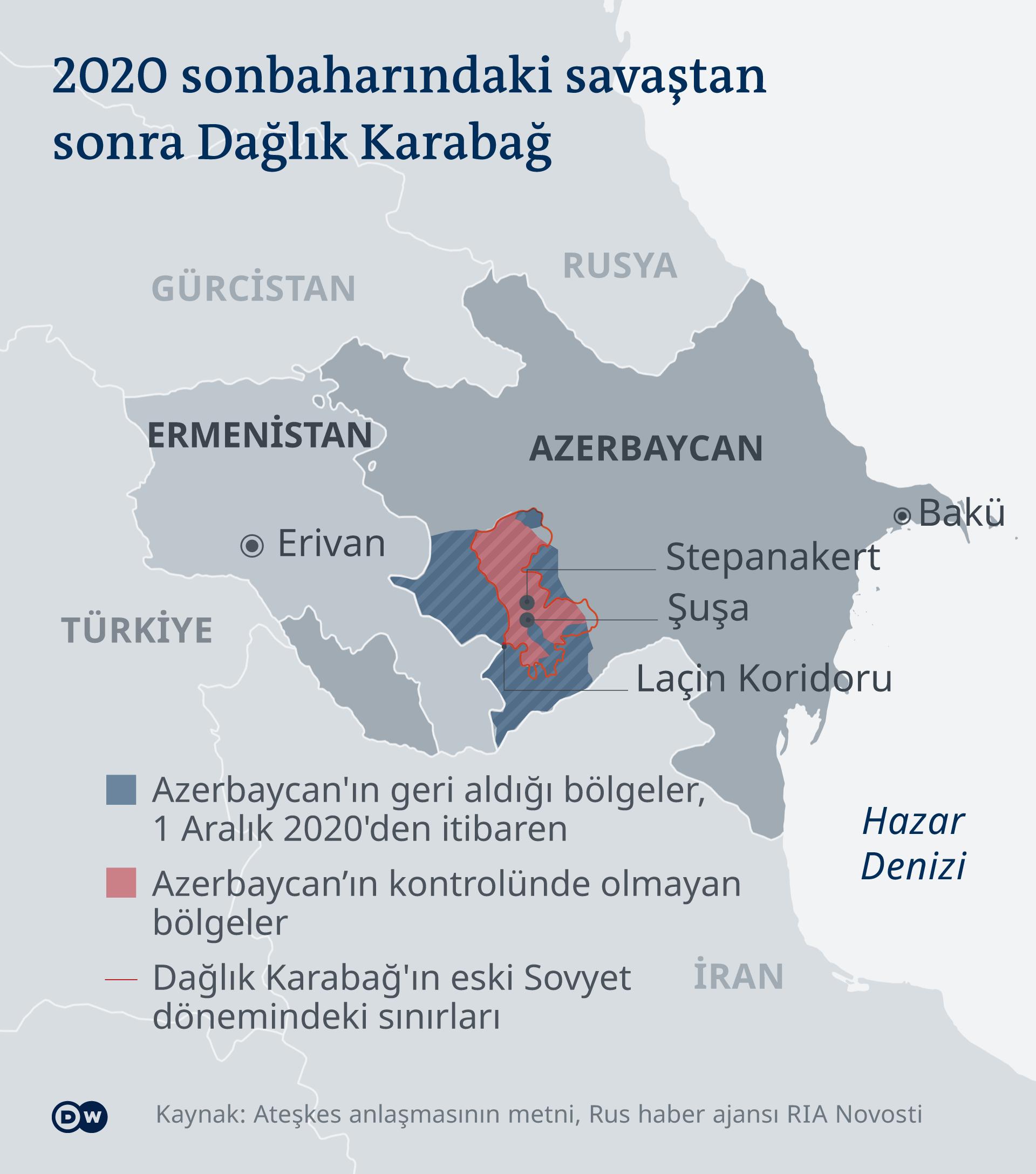 Infografik Karte Berg-Karabach nach dem Krieg im Herbst 2020 TR