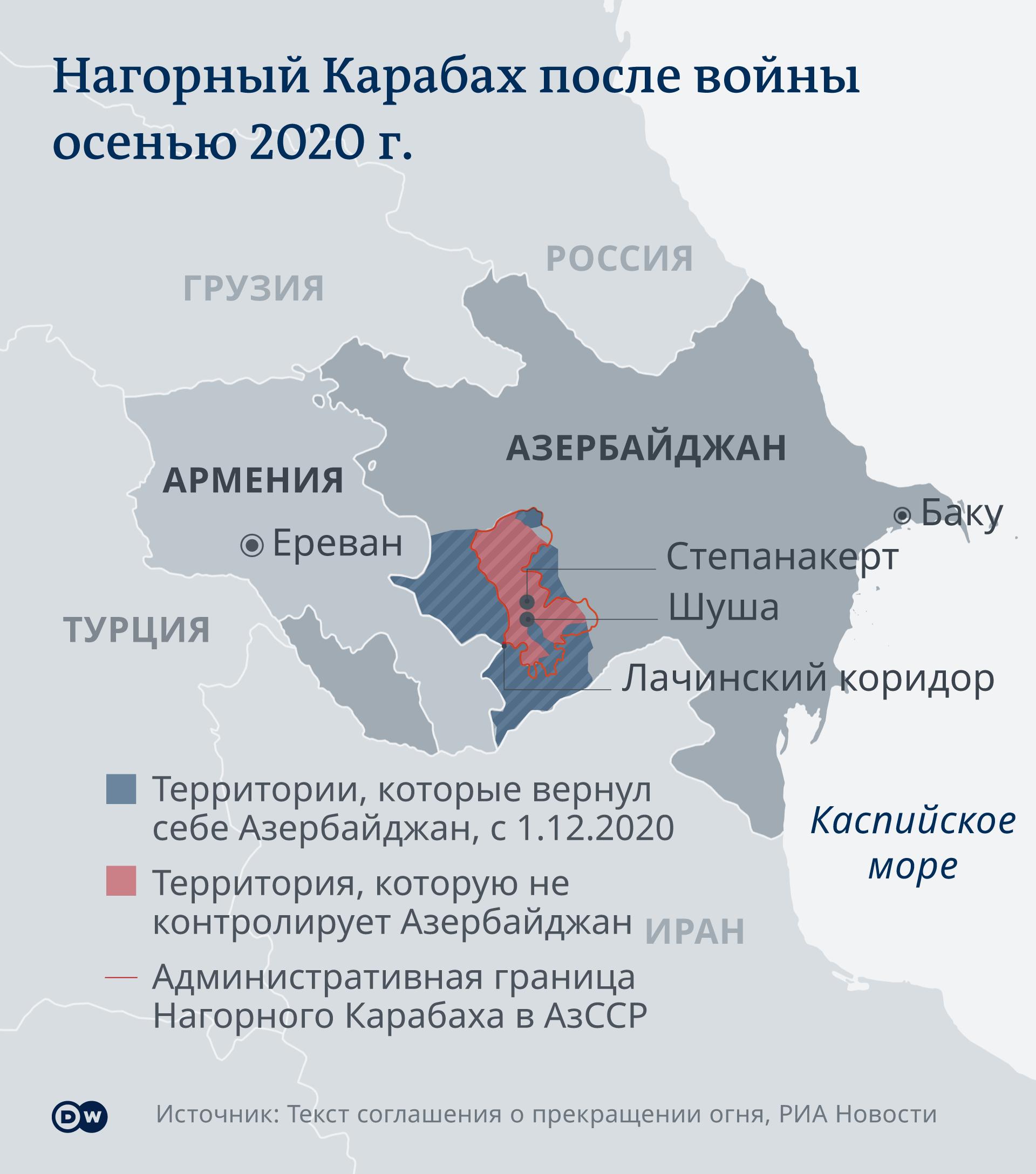 Infografik Karte Berg-Karabach nach dem Krieg im Herbst 2020 RU