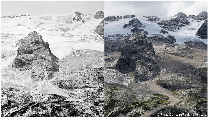 The Marmolada Glacier in the Italian Alps, photographed in 1880 by Franz Datone and in 2020 by Fabiano Ventura
