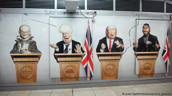 Karikatur in der Westminster Station (Justin Ng/UPPA/Avalon/picture alliance)