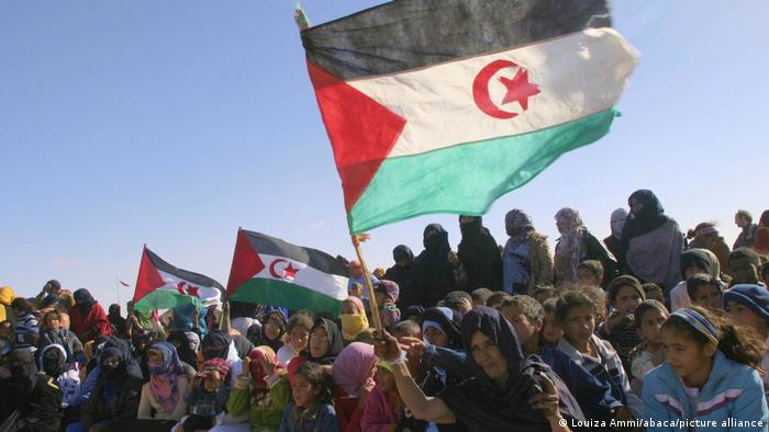 Refugees in the Smara refugee camp in the Western Sahara protest