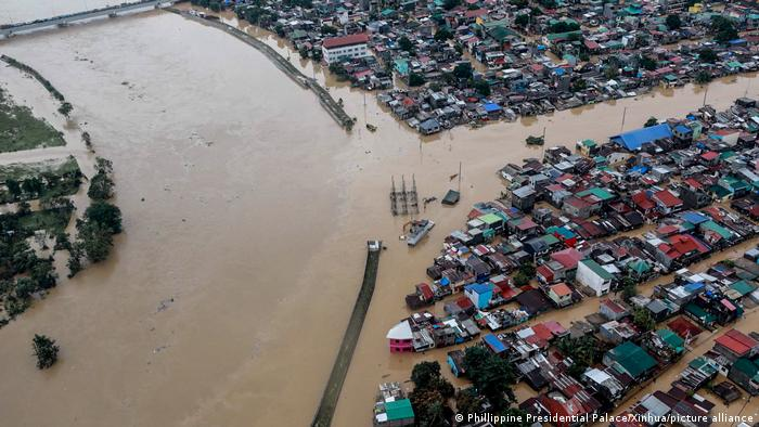 Aerial photo of Manila after flooding caused by Typhoon Vamco