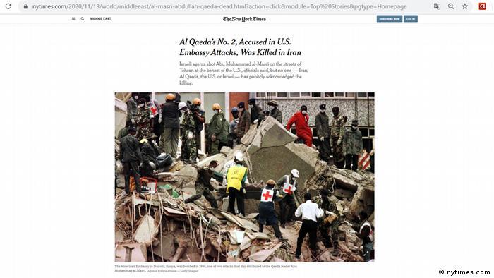 Screenshot NYT | Iran Abdullah Ahmed Abdullah Al-Qaidas Nummer zwei getötet