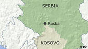 Karte Raska in Serbien nahe der Grenze zu Kosovo Englisch