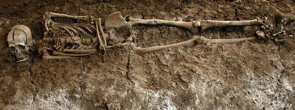 A human skeleton is seen in a mass grave in San Rafael cemetery in Malaga