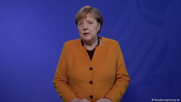 Screenshot Video-Podcast Kanzlerin Merkel zu Corona-Krise