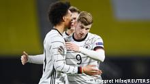 Soccer Football - UEFA Nations League - League A - Group 4 - Germany v Ukraine - Red Bull Arena, Leipzig, Germany - November 14, 2020 Germany's Leroy Sane celebrates scoring their first goal with Timo Werner REUTERS/Annegret Hilse
