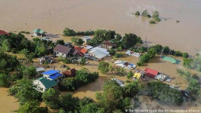 A flooded village in the Philippines