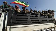 Äthiopien Amhara-Soldaten auf dem Weg nach Tigray