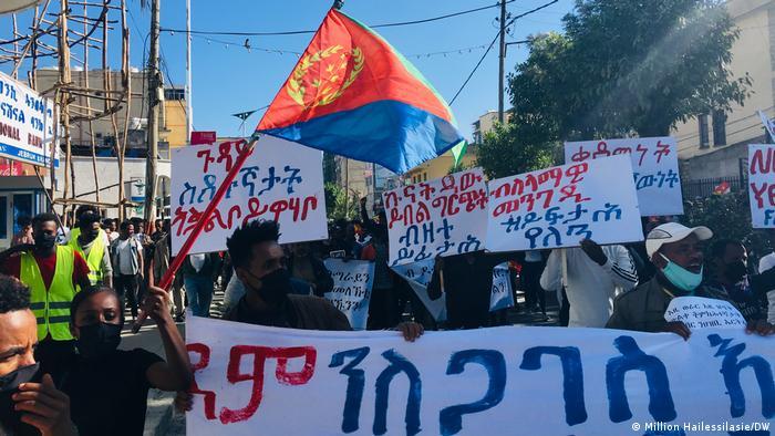 Anti-war protesters in Ethiopia