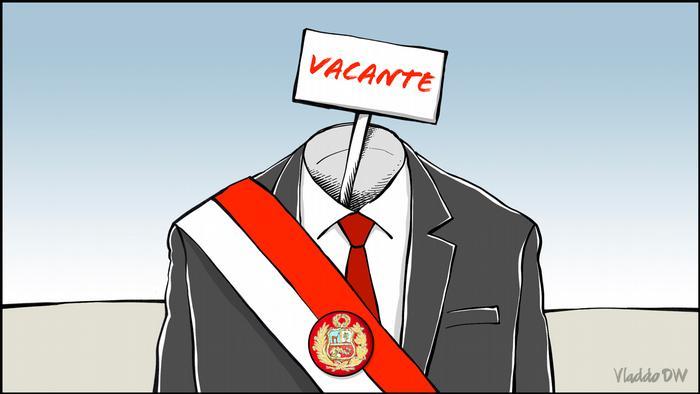 Caricatura mostra presidente peruano com placa escrito vago no lugar da cabeça