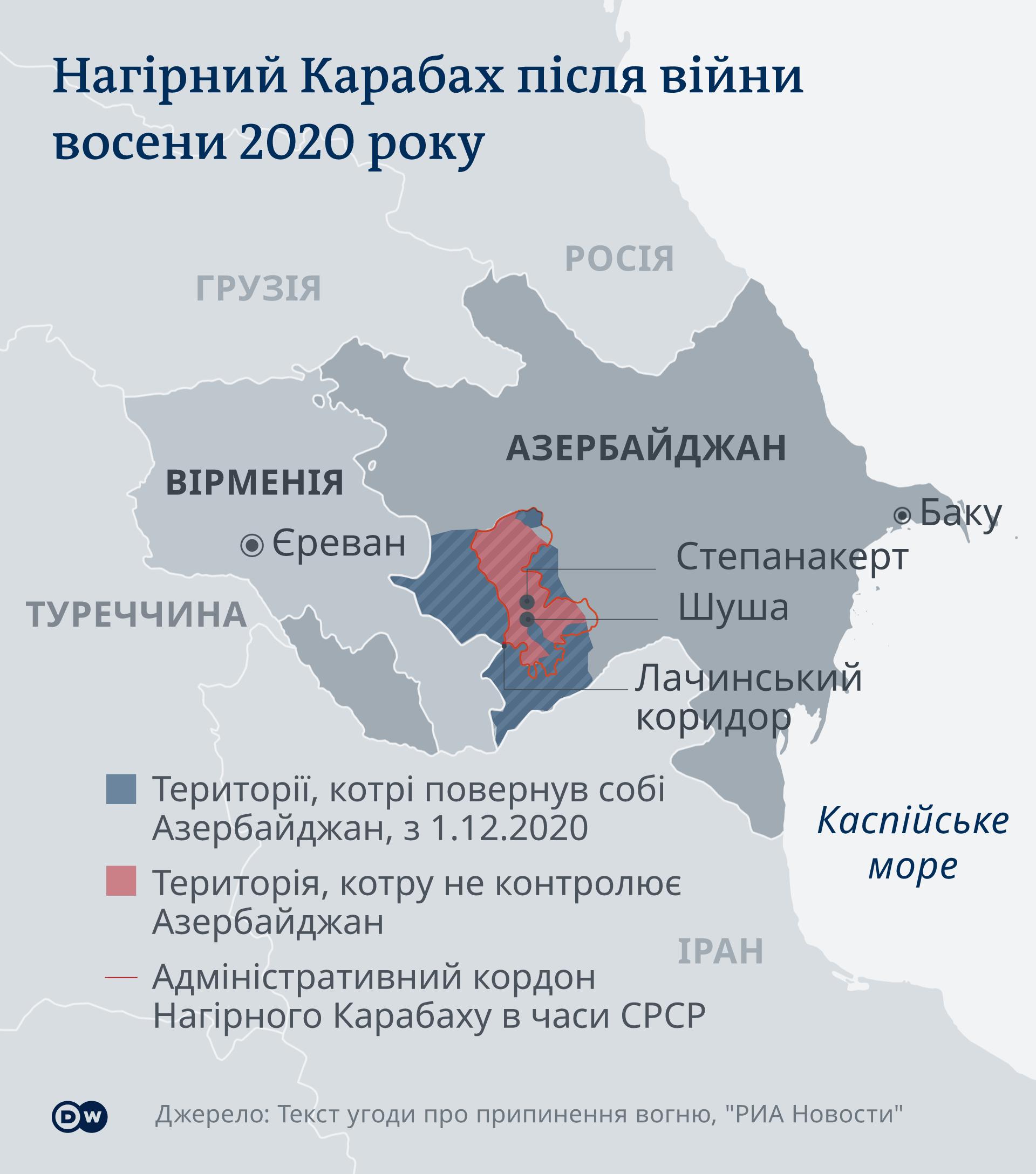 Розмежування території Нагірного Карабаху за мирною угодою 2020 року