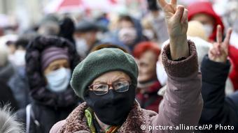 Марш протеста пенсионеров в Минске в ноябре 2020 года