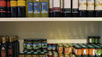 A shelf stocked with Libera Terra products